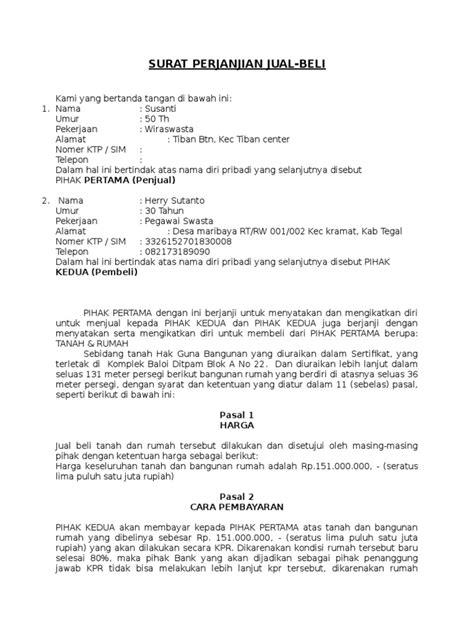 Contoh Surat Perjanjian Over Kredit Dibawah Tangan Gawe Cv