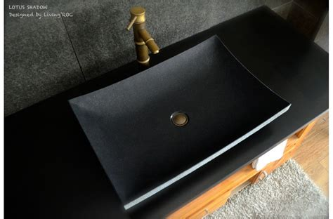 24quot black granite natural stone vessel sink lotus shadow