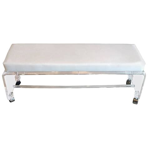 white bench seating lucite waterfall end of bed bench seat chair white leather