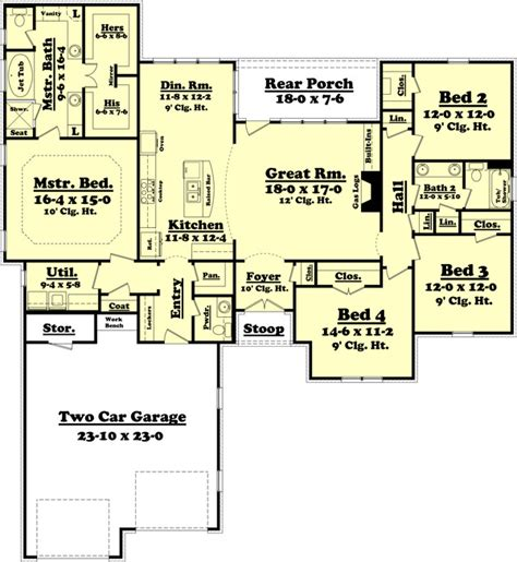 split two bedroom layout traditional style house plan 4 beds 2 5 baths 2175 sq ft