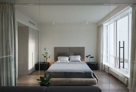 apartments contemporary master bedroom with color schemes an ultra modern moscow apartment with a glass wall between
