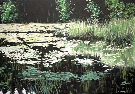 Gemalte Bilder Auf Leinwand 1157 by Waldteich 100x80 Wasser Idylle Ruhe Romantik