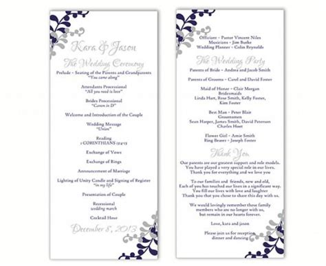 Wedding Program Template Diy Editable Word File Instant Download Program Navy Blue Program Gray Wedding Reception Program Template 2