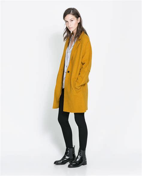 zara coat in yellow lyst