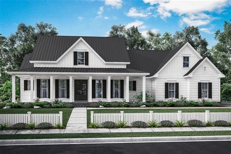ranch farmhouse manor farm house plan house plan zone