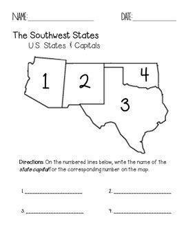 southwest state southwest region states and capitals quiz pack by faith
