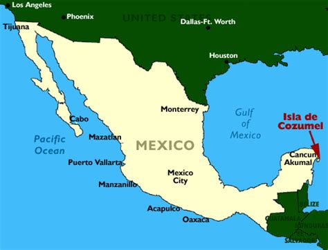 map of mexico showing cancun map of mexico island of cozumel and riviera