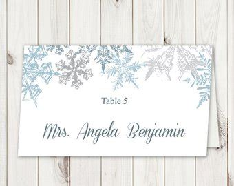 snowflake place card template snowflake place card etsy