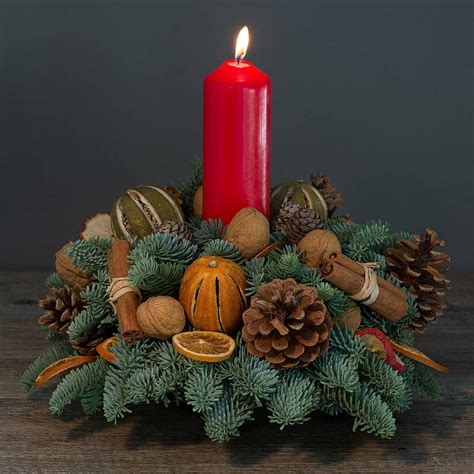 christmas table wreath centerpieces blinds decor spruce scented table centerpiece wreath with candle for fresh