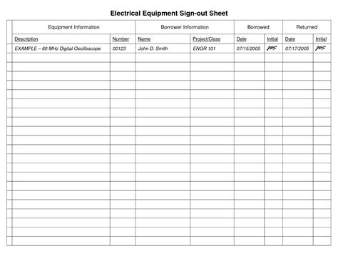 Equipment Sign Out Sheet Template by Best Photos Of Tool Sign Out Template Equipment Sign Out