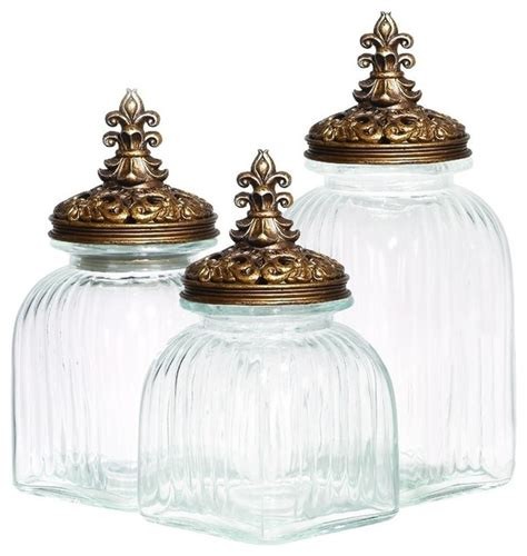 glass canister set for kitchen glass polystone canister 3 set rustic kitchen