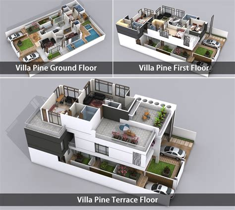 Residential Floor Plans And Elevations by Plan Villa 3d