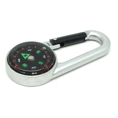 travel compass with carabiner kompas cing portable silver black jakartanotebook