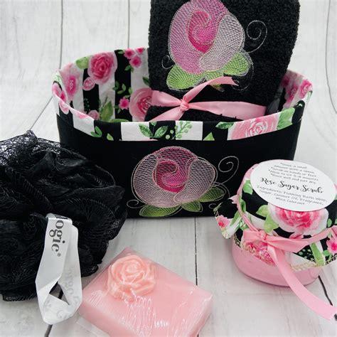 bath gift basket embroidered hand towelfabric basket