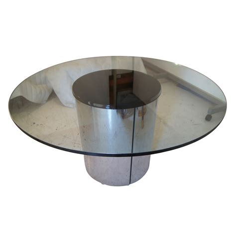 glass and chrome 54 quot round vintage chrome and glass dining table ebay