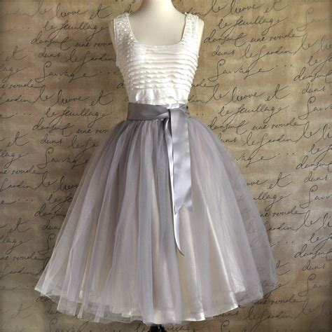 Tulle Skirt pale grey tulle tutu skirt for with ivory satin lining