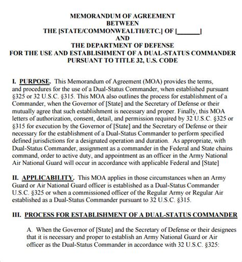 Navy Letter Of Agreement Memorandum Of Agreement 11 Free Pdf Doc