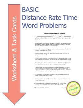 distance rate time word problems worksheet task cards