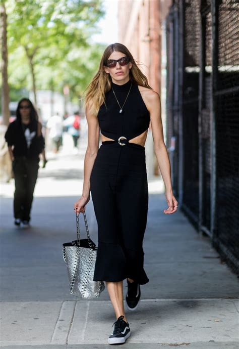 Vans Oldschool Navy Icc how to wear dress and sneakers popsugar fashion