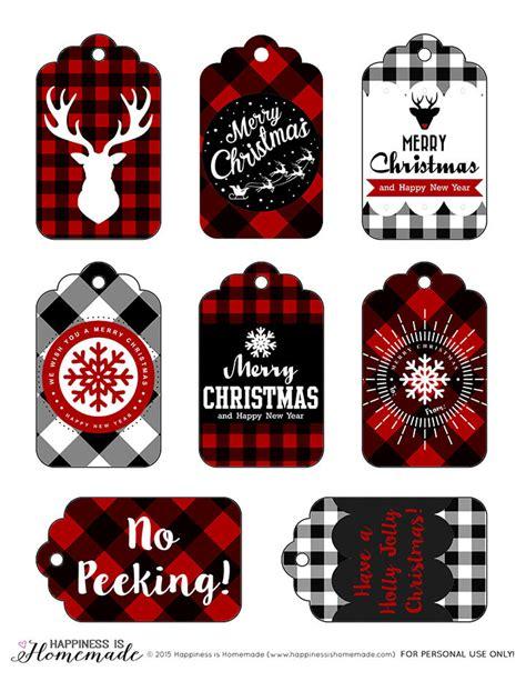 extra large printable christmas tags buffalo check plaid printable gift tags happiness is