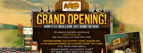Cracker Barrel Sweepstakes - cracker barrel old country store grand opening giveaway quot sweepstakes win a 100