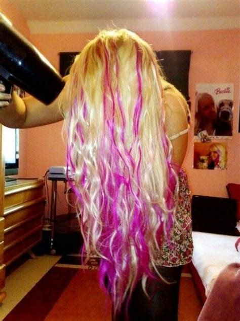 blone hair with pink streaks long platinum blonde hair with peekaboo hot pink