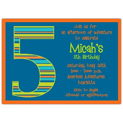 Birthday Boy Stripes 5th Birthday Invitations Paperstyle 5th Birthday Invitation Templates