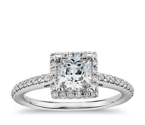 princess cut halo engagement ring in platinum