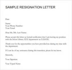 Formal Resignation Letter Without Notice Sle Resignation Letter Notice 6 Free Documents In Word Pdf