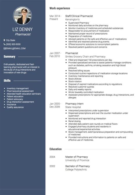 pharmacist cv exles and template