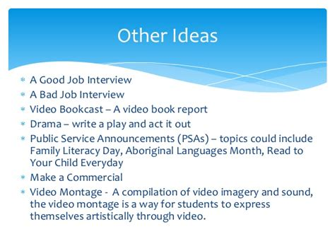 how to ideas some ideas for video projects
