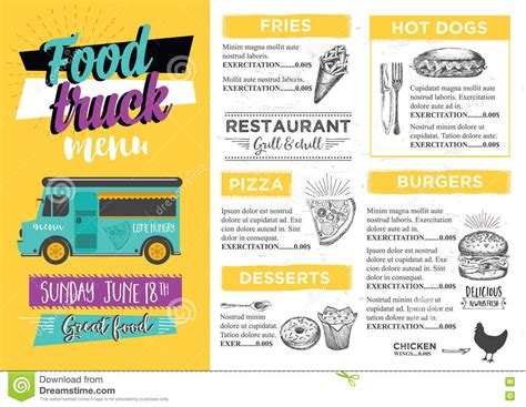 Food Truck Party Invitation Food Menu Template Design Food Fly Stock Vector Illustration Of Food Truck Menu Template