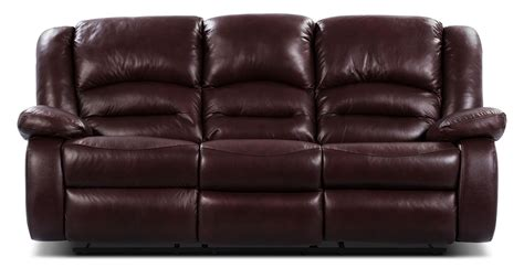 burgundy reclining sofa toreno genuine leather reclining sofa burgundy the brick