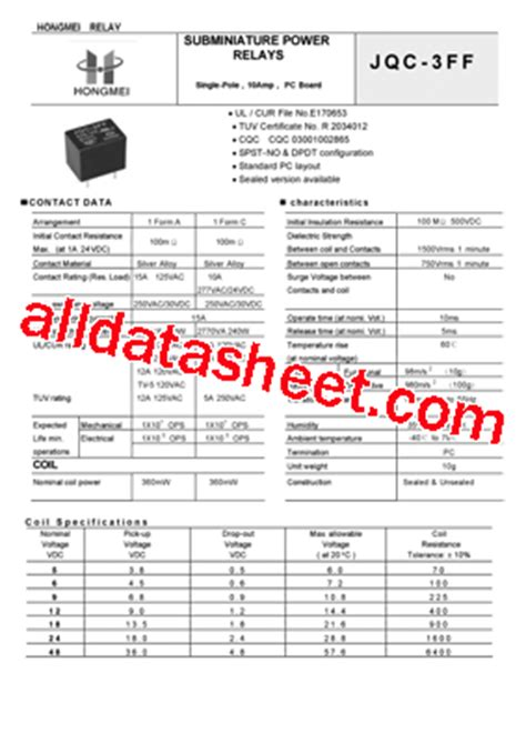 1h inductor datasheet jqc 3ff 003 1h datasheet pdf list of unclassifed manufacturers