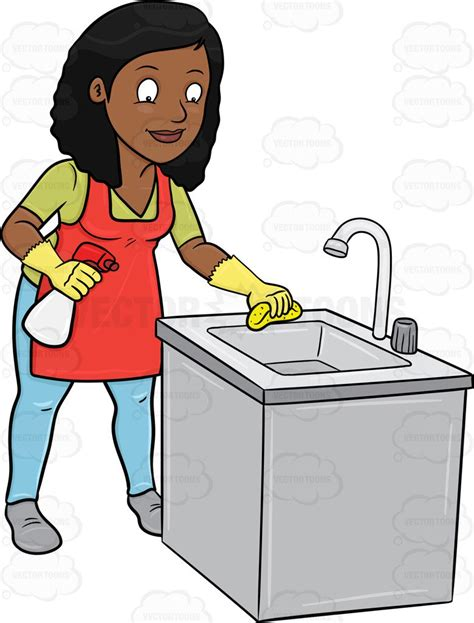 clean kitchen cartoon clipart a black woman trying to polish a kitchen sink