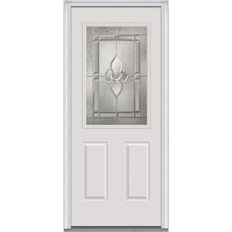 Steel Exterior Doors With Glass Milliken Millwork 33 5 In X 81 75 In Master Nouveau Decorative Glass 1 2 Lite 2 Panel Primed