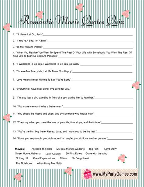 printable quiz cards shabby chic romantic movie quotes quiz game card free
