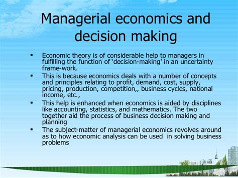 Managerial Economics Mba Explained by Managerial Economics Scope Ppt Mba 2009