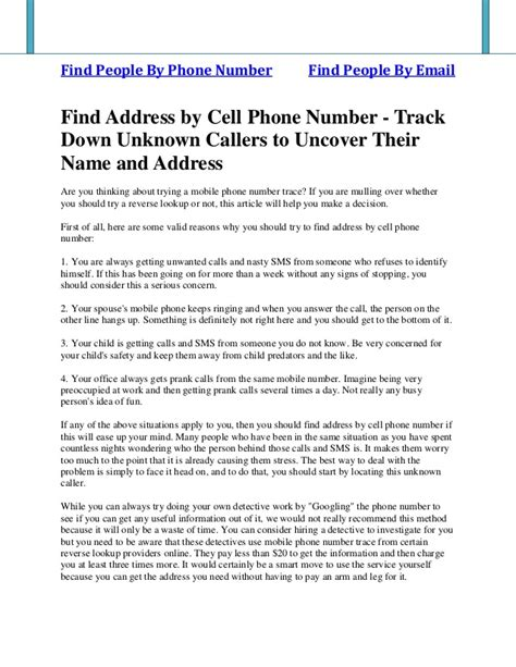 Search Name And Address By Mobile Number Find Address By Cell Phone Number Track Unknown Callers To Unc