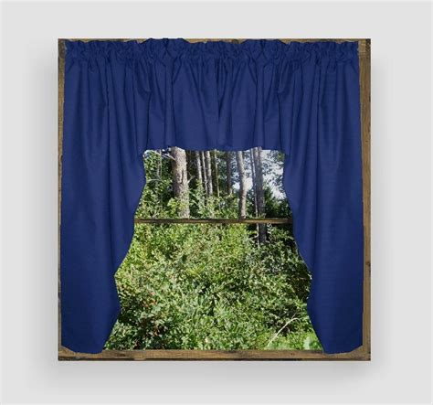 Solid Royal Blue Colored Swag Window Valance (optional