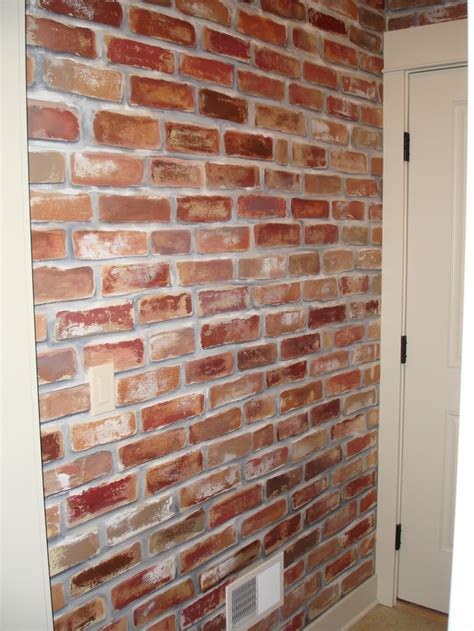 faux brick wall painting painted faux brick wall to give my mud room a