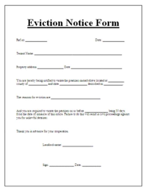 notice form exle eviction notice form word excel pdf templates