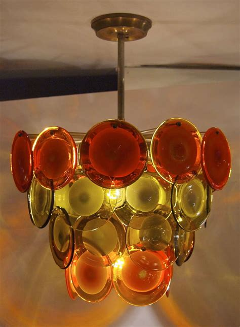 Orange Chandeliers Vistosi Four Tiered And Orange Disc Chandelier At 1stdibs