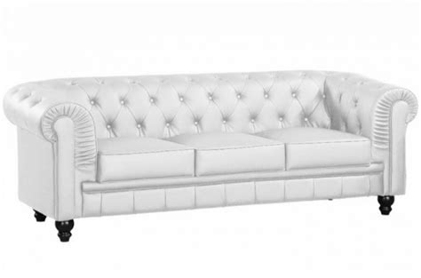 canap 233 chesterfield cuir blanc capitonn 233 3 places