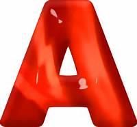 Presentation Alphabets Red Glass Letter A