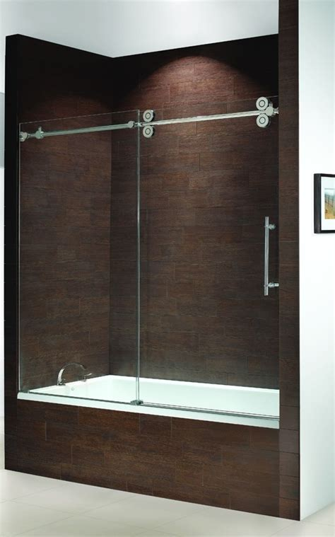 Shower Doors For Tubs Frameless Frameless Bathtub Doors Kinetik Frameless Sliding Tub Enclosure Single Door Slider With Fixed