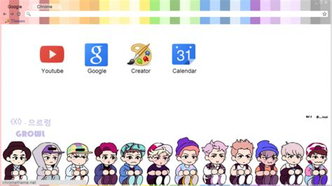 google chrome themes kpop exo chibi exo growl chrome theme themebeta