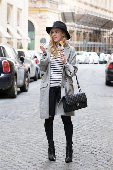 Setelan Stripe Chanel Gray stripes gelato oversized coat striped turtleneck black denim meagan s moda