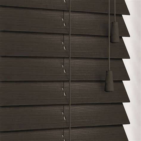 Bedroom Curtains Blackout Dark Brown Almost Black Faux Wood Blinds 35mm Made To Measure