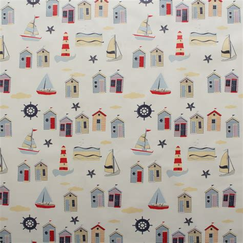 vintage pattern oilcloth vintage beach hut seaside oilcloth fabric